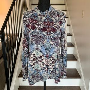 Free People Patterned Lace Mock Neck Top